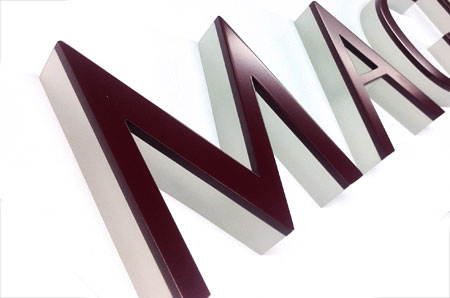 acrylic and painted aluminum letters